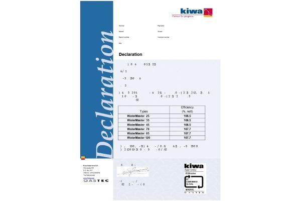Kiwa EN89 certificering ACV WaterMaster