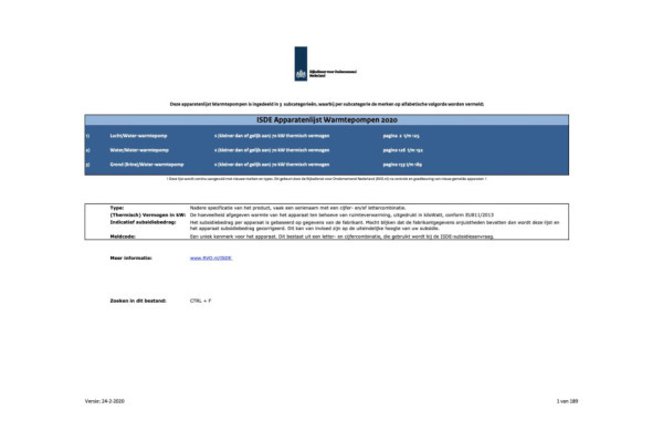 RVO subsidie apparatenlijst warmtepompen 24-2-2020