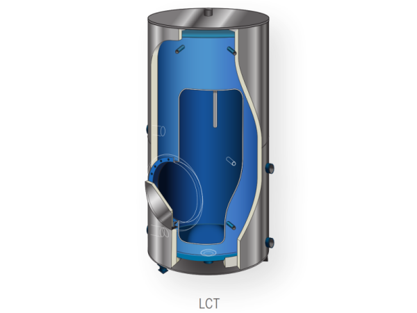 Staande voorraadvaten geschikt voor opslag van warm sanitair water. Uitgevoerd met geëmailleerd staal.